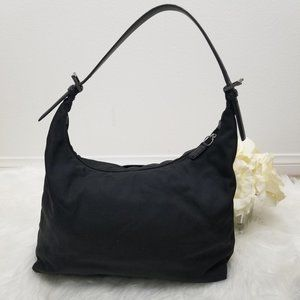Black Canvas Leather Trimmed COACH Hobo Large